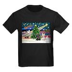 XmasMagic/2 Scotties (P3) Kids Dark T-Shirt
