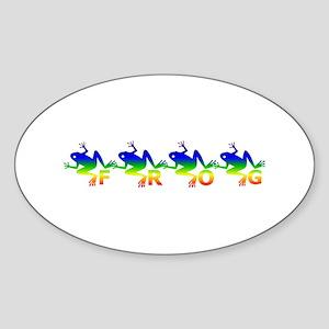 Tie dye Frog Oval Sticker