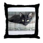 Love Black Cats Throw Pillow