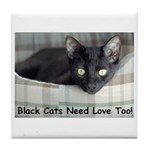 Love Black Cats Tile Coaster