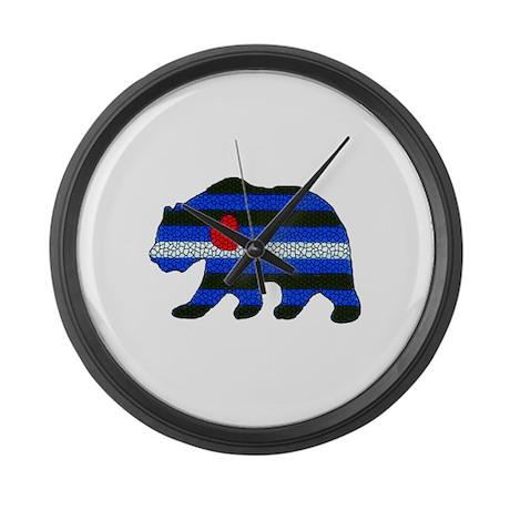 LEATHER PRIDE FLAG BEAR/MOSAIC Large Wall Clock