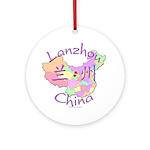 Lanzhou China Map Ornament (Round)