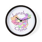Lanzhou China Map Wall Clock