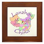 Lanzhou China Map Framed Tile
