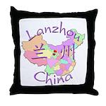 Lanzhou China Map Throw Pillow