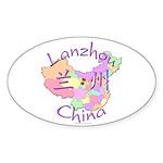 Lanzhou China Map Oval Sticker (10 pk)