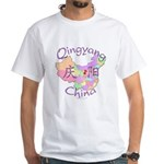 Qingyang China Map White T-Shirt