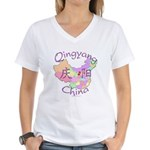 Qingyang China Map Women's V-Neck T-Shirt