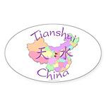 Tianshui China Map Oval Sticker (10 pk)