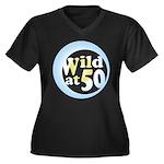 50th Birthday Women's Plus Size V-Neck Dark T-Shir