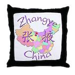 Zhangye China Map Throw Pillow