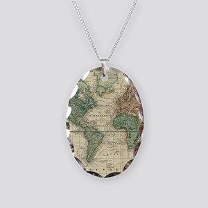 Vintage Map of The World (1823 Necklace Oval Charm
