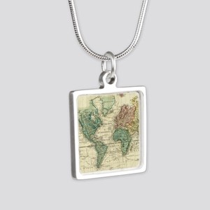 Vintage Map of The World (1823) Necklaces