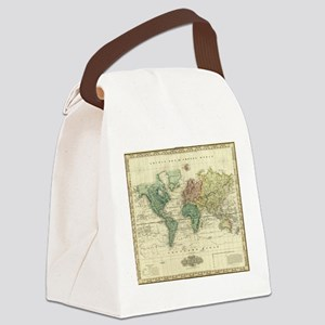 Vintage Map of The World (1823) Canvas Lunch Bag