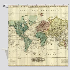 Vintage Map of The World (1823) Shower Curtain