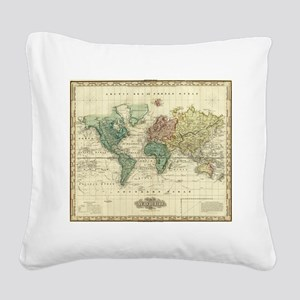 Vintage Map of The World (182 Square Canvas Pillow