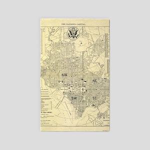 Vintage Map of Washington D.C. (1909) Area Rug