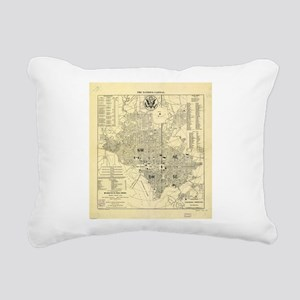 Vintage Map of Washingto Rectangular Canvas Pillow