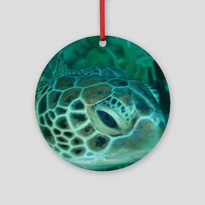 Green Turtle Ornament (Round)