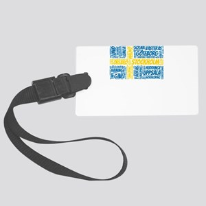 Sweden Flag with City Names Word Large Luggage Tag