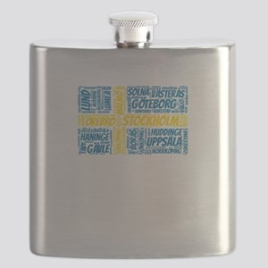 Sweden Flag with City Names Word Art Flask