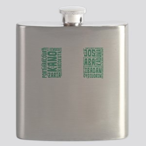 Nigeria Flag with City Names Word Art Flask