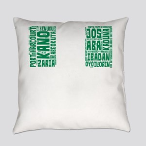 Nigeria Flag with City Names Word Everyday Pillow