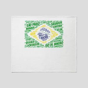 Brazil Flag with City Names Word Art Throw Blanket