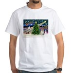 Christmas Magic & Pomeranian White T-Shirt