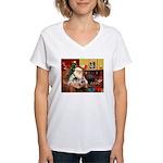 Santa's 2 Pekingese Women's V-Neck T-Shirt
