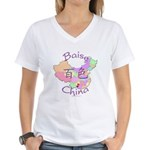 Baise China Map Women's V-Neck T-Shirt