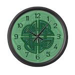 Celtic Four Leaf Clover Large Wall Clock