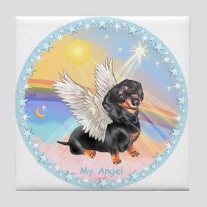 Clouds/Dachshund Angel Tile Coaster