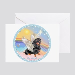 Clouds/Dachshund Angel Greeting Card