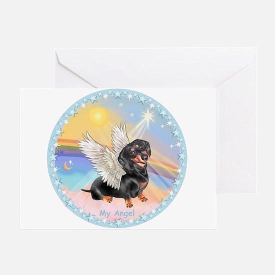 Clouds/Dachshund Angel Greeting Card