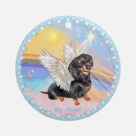 Clouds/Dachshund Angel Ornament (Round)