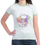 Cenxi China Map Jr. Ringer T-Shirt