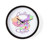 Guilin China Map Wall Clock