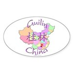 Guilin China Map Oval Sticker (10 pk)