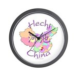 Hechi China Map Wall Clock
