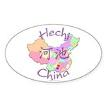 Hechi China Map Oval Sticker (10 pk)
