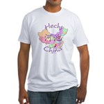 Hechi China Map Fitted T-Shirt
