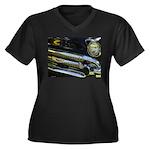 Black Chrome Women's Plus Size V-Neck Dark T-Shirt