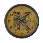 Celtic Letter K Large Wall Clock
