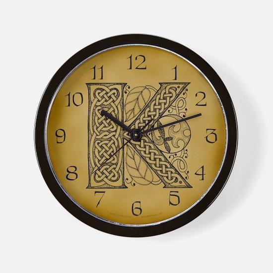 Celtic Letter K Wall Clock