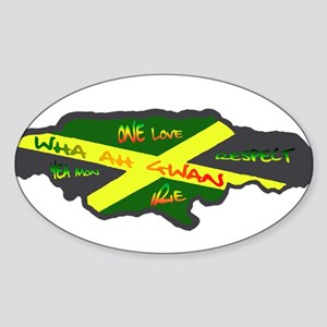 617Apparel Jamaica map Oval Sticker