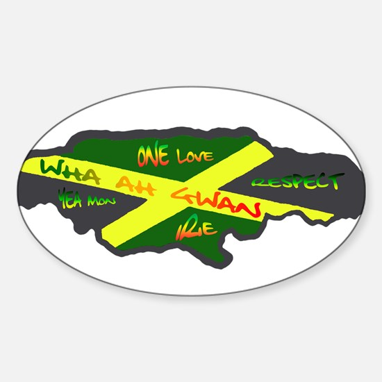 617Apparel Jamaica map Oval Decal