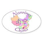 Nanning China Map Oval Sticker (10 pk)