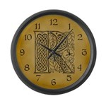 Celtic Letter R Large Wall Clock