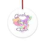 Qinzhou China Map Ornament (Round)